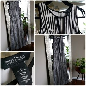 WHBM Striped Black White Maxi Dress Size 8